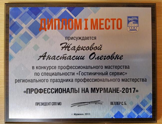 Региональный праздник профессионального мастерства «Профессионалы на Мурмане 2017», МТКС