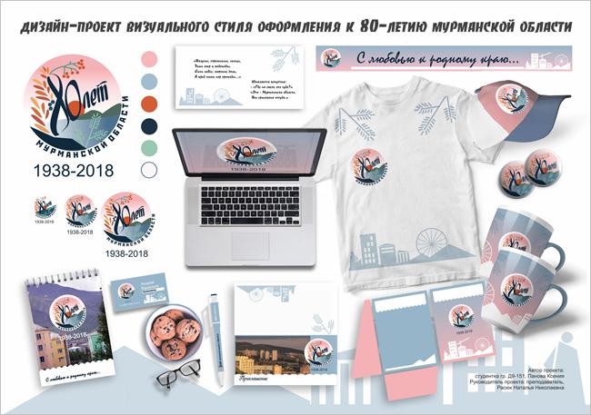 Разработка дизайн-проектов визуального стиля оформления к 80-летию Мурманской области. Работа Пановой Ксении, МТКС.